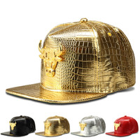 Wholesale New Hot Sale Fashion Bull Alloy Hip Hop Baseball Cap Snapback Faux Leather Swag Caps Gorras Breathable Hat For Women And Men cap