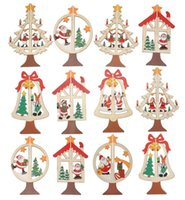 bell trees - Christmas Kinds Creative Carved Wooden DIY Christmas Tree Ornament Decoration Windows Pentacle Pendant Bell Charm Strap cm cc778