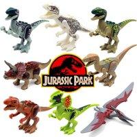 baby dinosaur toy - HOT SALE Jurassic World Park Minifigures Dinosaur Bricks Mini Figures Building Blocks Super Heroes baby toys Compatible