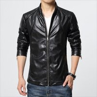 Wholesale Fall M XL Men s Plus Size Leather Jacket PU Leather Biker Jacket Man Coat Fashion Solid Stand Collar jaqueta de couro masculina