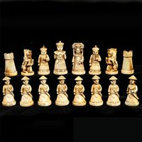 Wholesale cheap Christmas gift hot sales China Qing Dynasty Army style Pieces Chess Set Leather Wood Box AAA