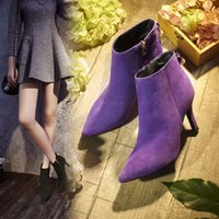 Wholesale Europe and the United States new autumn winter leather boots pointed fine Martin boots fashion show thin woman with short boots