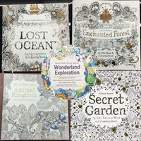 Wholesale 96 Pages Coloring Books x25cm Animal Kingdom Enchanted Forest Lost Ocean Secret Garden inky coloring book For Kids Adult Graffiti Painting