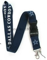 Wholesale 10Pcs Factory Price Dallas Cowboys Summer Style Lanyard Keychain ID Holder Lanyard Cell Phone Neck Strap Lanyards With Buckle A1570