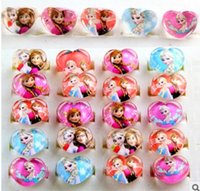 Cheap 50pcs lot Frozen Elsa Anna Rings Acrylic rings Four Different Styles Of Children Kids New Fashion Jewelry Ring