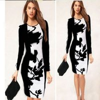 Wholesale street style elastic women dress print package hip plus size grace fashion pencil dress summer hot sales