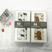 Wholesale 17 styles Baby Cotton Muslin Swaddle Wrap cartoon panda fox print Blanket Newborn Swaddle Towel Robes x120cm with box