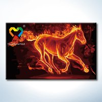 baby paint horses - Fire Horse DIY Painting Baby Toys x80cm Coloring Canvas Oil Painting Kids Drawing Toys Set for Lover Gift