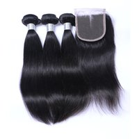 Wholesale 8A Top Quality Straight Human Hair With Closure Unprocessed Brazilian Virgin Hair With Closure Queen Hair Products Bundles With Closures