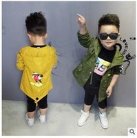 baby boy windbreaker - Retail children autumn clothes coat baby girls and boy mickey hooded cardigan windbreaker jacket baby boys clothes in stock
