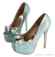 aqua pumps shoes - Aqua green pearls rhinestone crystal heels white wedding shoes for women sexy high heels shoes bridal shoes size to