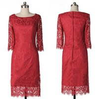 apple photo products - Real Products Show Long Sleeves Red Lace Homecoming Dresses Jewel Neck Sheath Full Top Laced Knee Length Prom Party Cocktail Bridesmaid Gown