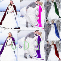 Wholesale Wedding Bridal Fantasy Full Length Hooded Cape White Fur Muff Satin LIning And Ultra Warm Fill Winter Women s Cloaks