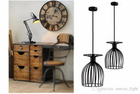 Wholesale Vintage Style Black Hanging Pendant Light Fixture Metal Cage Buld Lamp E27 lamp wire steel lamp shade type KTV bar lamp shade