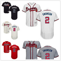 Wholesale 2 Dansby Swanson Jersey MLB Baseball Atlanta Braves Jerseys Flexbase Red Black Grey White Cream size XL XL