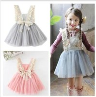 Round Neck baby korean style - Kids Baby Girls Tulle Lace Bow Party flower Dresses Baby Girl TuTu Princess Dress Babies Korean Style Suspender Dress Children s clothing