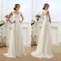 Cheap Vintage Modest Wedding Gowns Capped Sleeves Empire Waist Plus Size Pregant Maternity Dresses Beach Chiffon Country Style Bridal Gowns Real