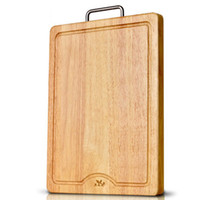 Wholesale High Quality Wooden Bread And Fruit Cutting Board Wood Chopping Block Chopping Board With Metal Handle Kitchen Accessories
