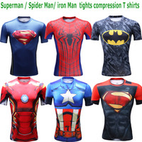 Wholesale 2016 NEW Spiderman Iron man Batman tights compression t shirt sports fitness training running quick drying Gym t shirt tee