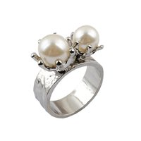 Cluster Rings alloy recycling - New lady alloy rings milk white recycled material pearl piece Dropship
