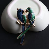 african parrot bird - 2016 New Fashion Cute Double Birds Brooch Classic Magpie Broche Pin Women Enamel Parrot Jewelry Cheap Accessorries DHH108