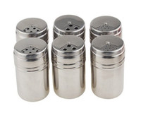 Wholesale Bottles Salt Set of Stainless Steel Spice Sugar Spice Pepper Shaker Seasoning Cans with Rotating Cover for Kitchen Cooking and Outdoor Bar