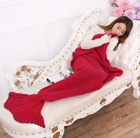 hand knitted - 10PCS Crochet Mermaid Tail Blanket Super Soft Warmer Blanket Bed Sleeping Costume Air condition Knit Blanket Autumn Winter LJJL166