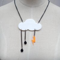 alloy resin - Night Club Personality Punk Cloud Lightning Acrylic Pendant Necklace Choker Chain Women Jewelry Accessories Hip Hop