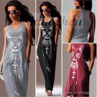 Wholesale Women Cat Print Dress Long Maxi Dress Evening Cocktail Dress Casual Summer Dress Fashion Beach Dress Party Club Dress Boho Sundress A511