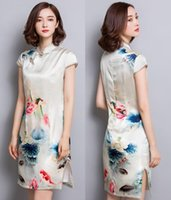Wholesale Chinese style Dresses Cheongsam short sleeve Ink painted silk Midi dresses plus size XL Drop shipping women s fashion