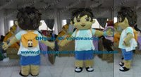 adult dora mascot - Pleasant Brown Dora The Explorer Go Diego Go Mascot Costume Cartoon Character Mascotte Adult Yellow Bag Blue Pants ZZ647 Free Sh