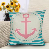Wholesale Mediterranean series sailboats anchor nautical sailor map printed cotton Linen pillow cover cushion pillow case hot sale new arrvial