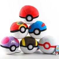 animal games children - EMS cm Inch Poke Ball Plush toys Pillow children cartoon Pikachu Poke Ball Stuffed Animals toy with tags A102