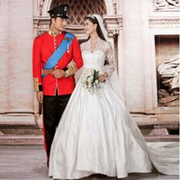 Wholesale 2016 princess wedding dress Luxurious Alencon Lace Very good qualityTrain bridal gown kate style wedding gown vestido de noiva