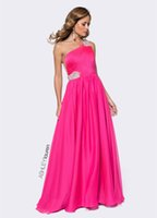 ashley art - 2016 ASHLEY Lauren A Line Evening Dresses Elegant Beaded Straps One Shoulder Satin Prom Dresses Draped Skirts Sheer Back Evening Gowns
