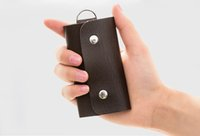 Wholesale 10pcs Men Women PU Leather Key Chain Pouch Bag Wallet Case Accessory Key Holder Free Shipment