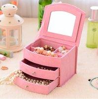 Wholesale Vintage Layer Casket Jewelry Organizer Makeup Storage Box Cosmetic Organizer Box Girl Favor Gift