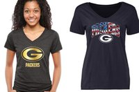 bay gold - Women s Packers T Shirts cheap rugby football jerseys V neck Green Bay Banner Wave Black Gold Collection freeshipping