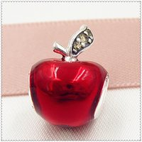 sterling silver beads - 2015 New Sterling Silver Snow White Apple Charm Pendant Bead with Red Enamel and Cz Fits European Pandora Jewelry Bracelets Necklace