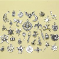 Wholesale Fashion Jewelry Antique Silver Pentagram Tree Green Man Witch Feather Goddess Mix Charm Pendant DIY Fashion Charms S3919