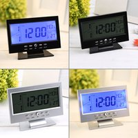 Wholesale Voice Control Desk Clock Back light LCD Alarm Clock Large Screen Weather Monitor Calendar with Thermometer Price