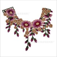 Wholesale Brown Craft Embroidered Polyester Flower Lace Patches Red Rose Decorated Sewing Neckline Collar Applique