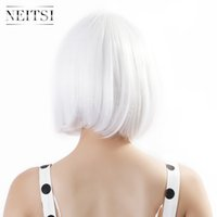 Wholesale Neitsi White Synthetic Hair quot cm g pc Cosplay Synthetic BOBO Hair Wigs Lace Front Wigs Hair Wigs for Black Women Cosplay Wigs