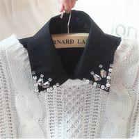 ascot blouse - NEW Fashion Detachable Collar Handmade Rhinestone Women White Black Blouse Shirt False Collar SC032