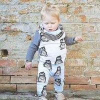 baby pants thank - 2016 new baby boy thanks baby clothing unisex cotton long sleeved t shirts pants PSC Infant penguin baby boy clothing set