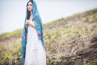 air linen - Embroidered linen scarf flowers burr tourism air conditioning is prevented bask in dual use scarves female national cape wind in spring and