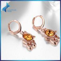 baby piercing earrings - 18k Yellow Gold Plated Cute Butterfly Bow Knot Cat CZ Piercing Stud Earrings for Children Girls Kids Baby Jewelry