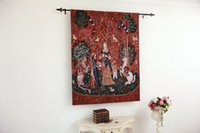 Wholesale The Lady and the Unicorn Smell Fine Art Tapestry Wall Hanging Home Decor Gift Cotton Jacquard Woven x cm