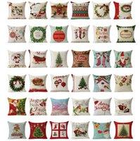 Wholesale 2016 Christmas Cotton Linen Cushion Cover cm cm Washable Christmas Sofa Pillow Covers Patterns Drop Shipping