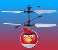 Wholesale angry bird Flying aircraft Mini flying toys bird Induction Bird Control Helicopters red green blue UFO Drone for kids